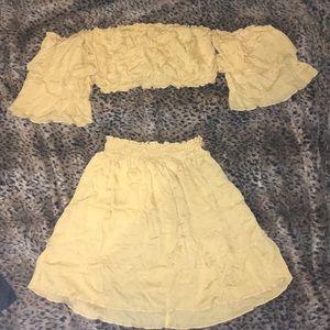 Shein Crop/Tube Top w/ sleeves & matching skirt